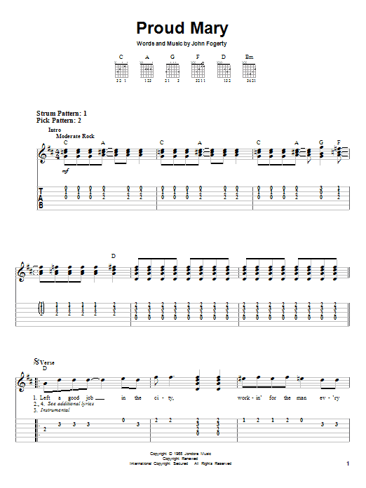 Creedence Clearwater Revival Proud Mary sheet music notes and chords. Download Printable PDF.