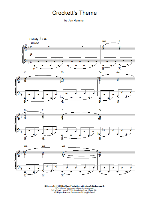 Jan Hammer Crockett's Theme (from Miami Vice) sheet music notes printable PDF score