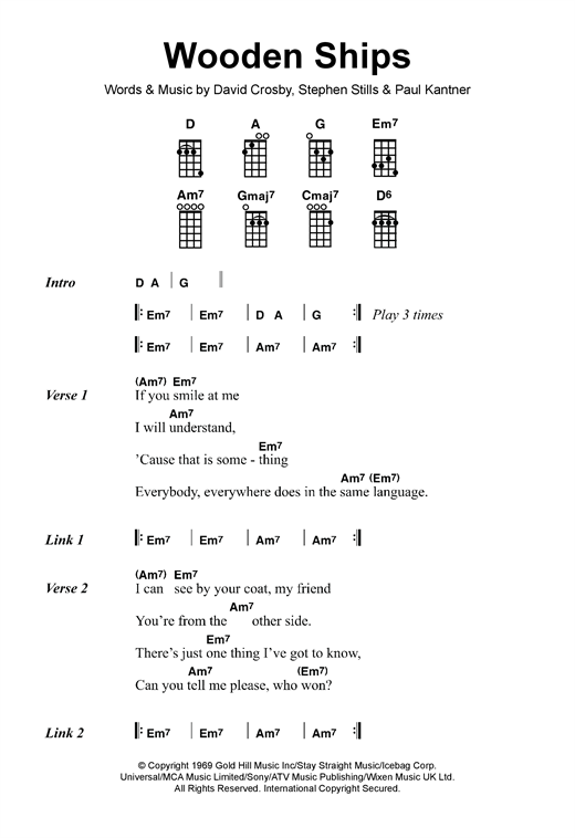 Crosby, Stills & Nash Wooden Ships sheet music notes and chords - download printable PDF.