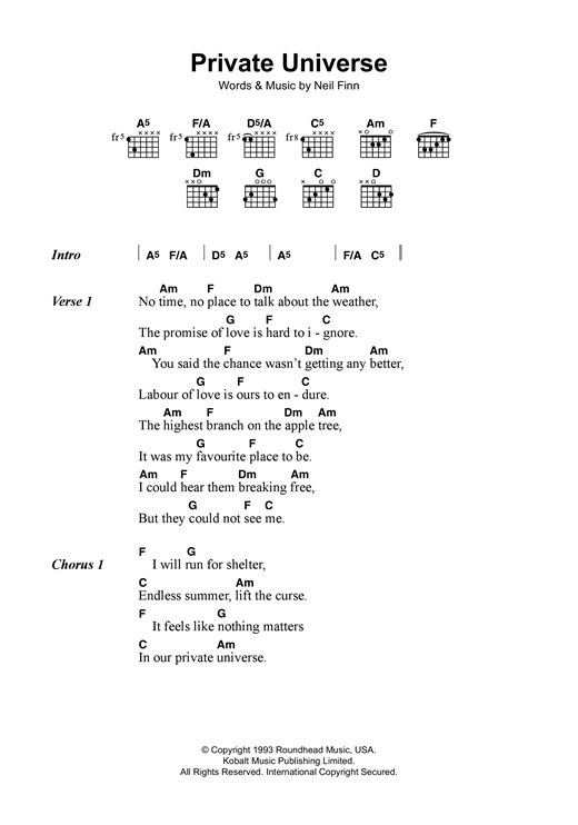 Crowded House Private Universe sheet music notes and chords. Download Printable PDF.