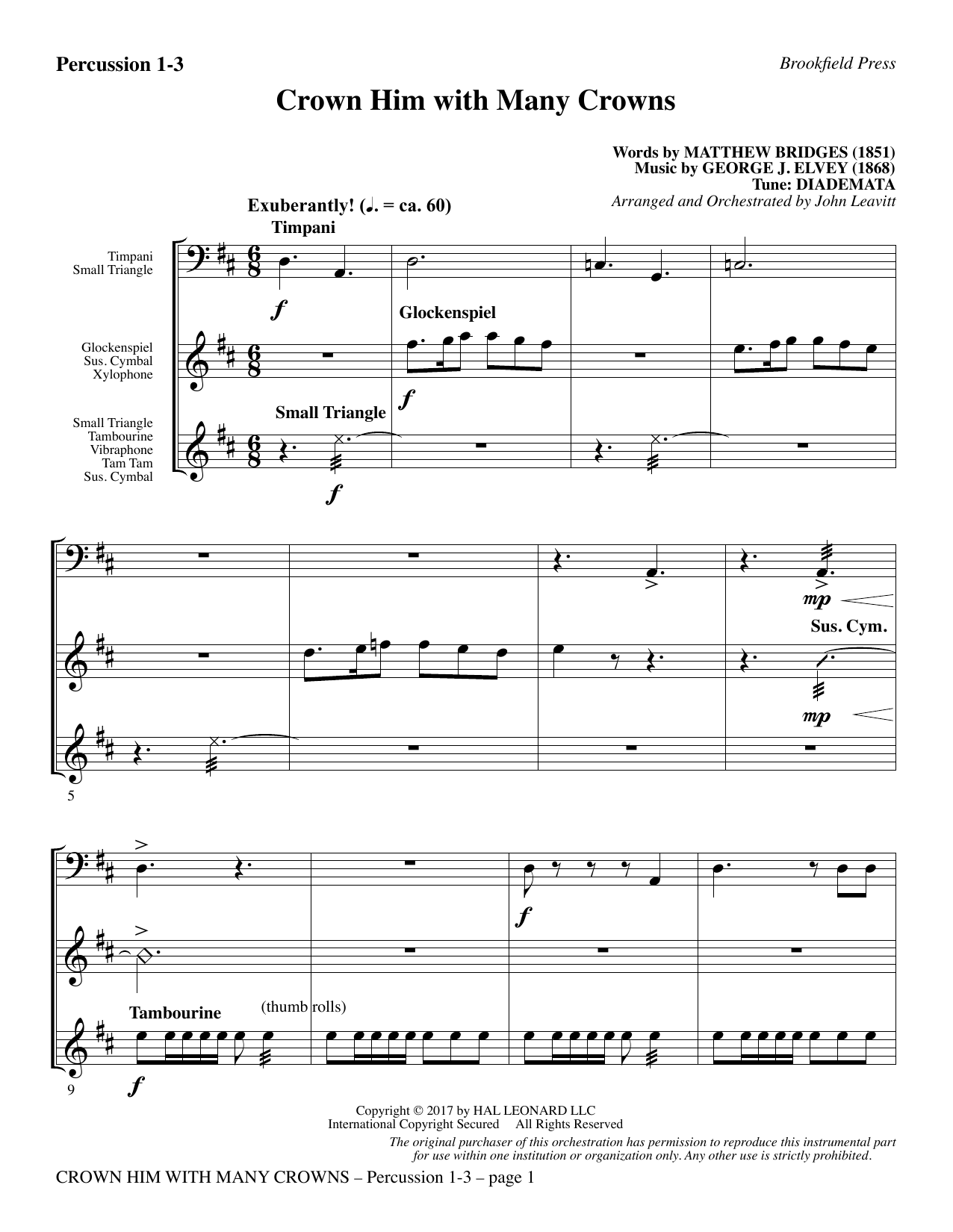 John Leavitt Crown Him with Many Crowns - Percussion 1-3 sheet music notes printable PDF score
