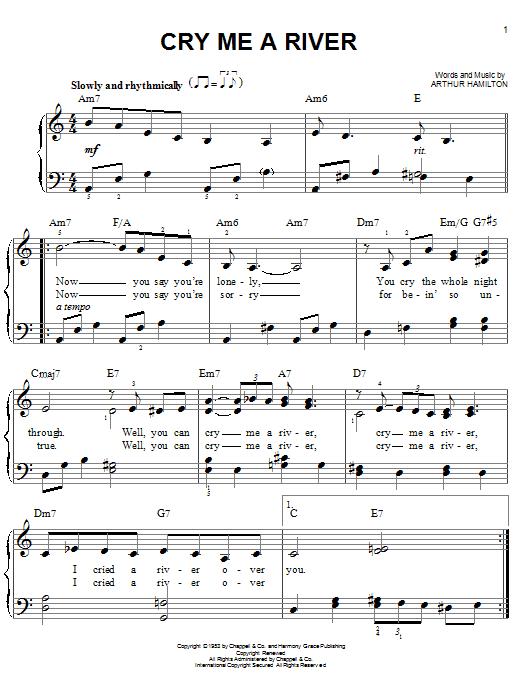 Arthur Hamilton Cry Me A River sheet music notes printable PDF score