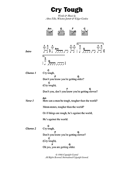 Alton Ellis Cry Tough sheet music notes printable PDF score