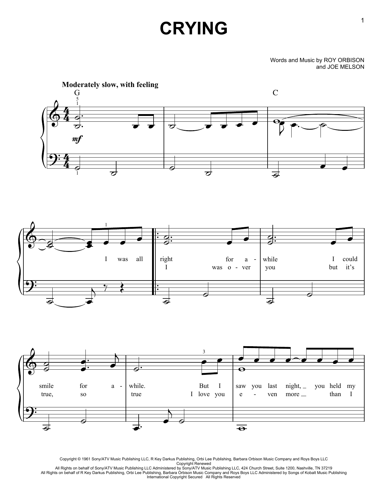 Roy Orbison Crying sheet music notes printable PDF score
