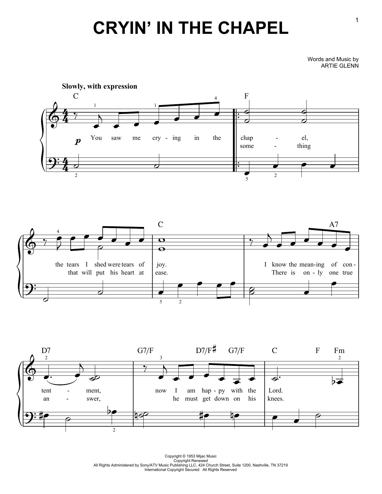 Elvis Presley Crying In The Chapel sheet music notes printable PDF score
