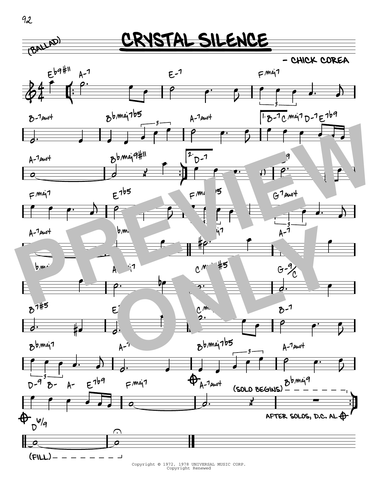 Chick Corea Crystal Silence [Reharmonized version] (arr. Jack Grassel) sheet music notes printable PDF score