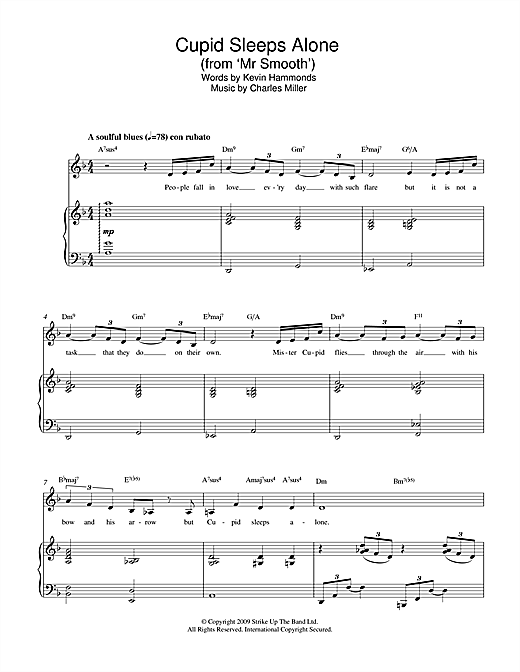 Charles Miller & Kevin Hammonds Cupid Sleeps Alone (from Mr Smooth) sheet music notes printable PDF score