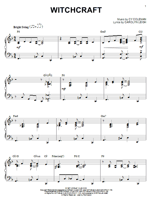 Cy Coleman Witchcraft (arr. Brent Edstrom) sheet music notes and chords. Download Printable PDF.