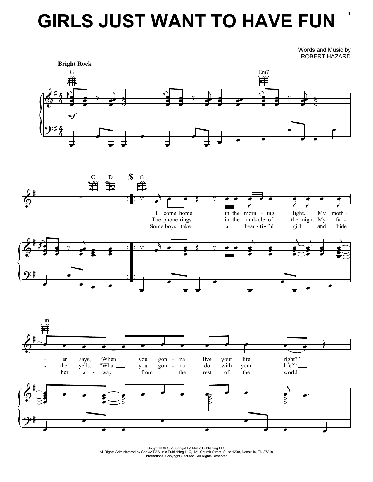 Cyndi Lauper Girls Just Want To Have Fun sheet music notes and chords - download printable PDF.