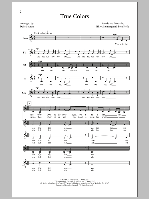 Cyndi Lauper True Colors (arr. Deke Sharon) sheet music notes and chords - download printable PDF.