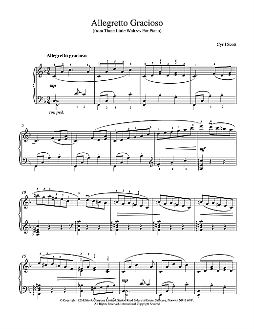 Cyril Scott Allegretto Gracioso sheet music notes printable PDF score