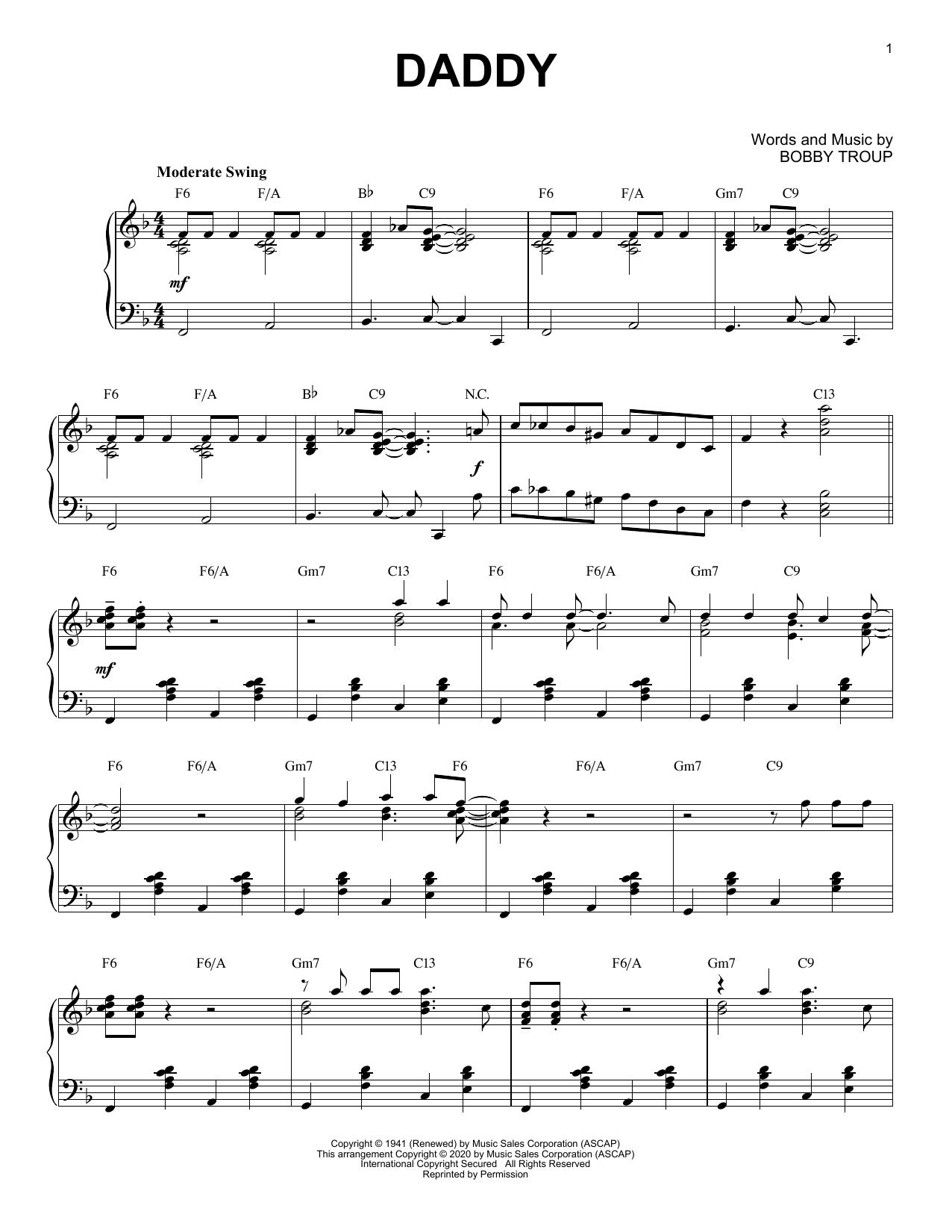 Sammy Kaye Daddy [Jazz version] (arr. Brent Edstrom) sheet music notes printable PDF score