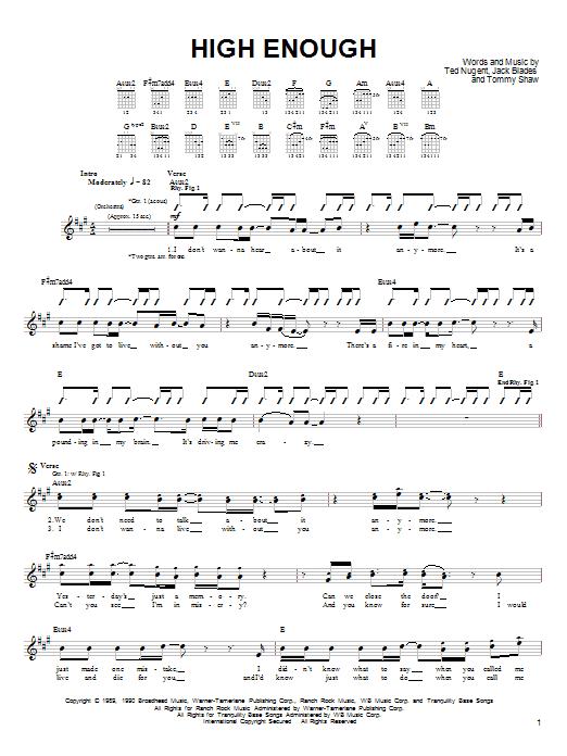 Damn Yankees High Enough sheet music notes and chords. Download Printable PDF.