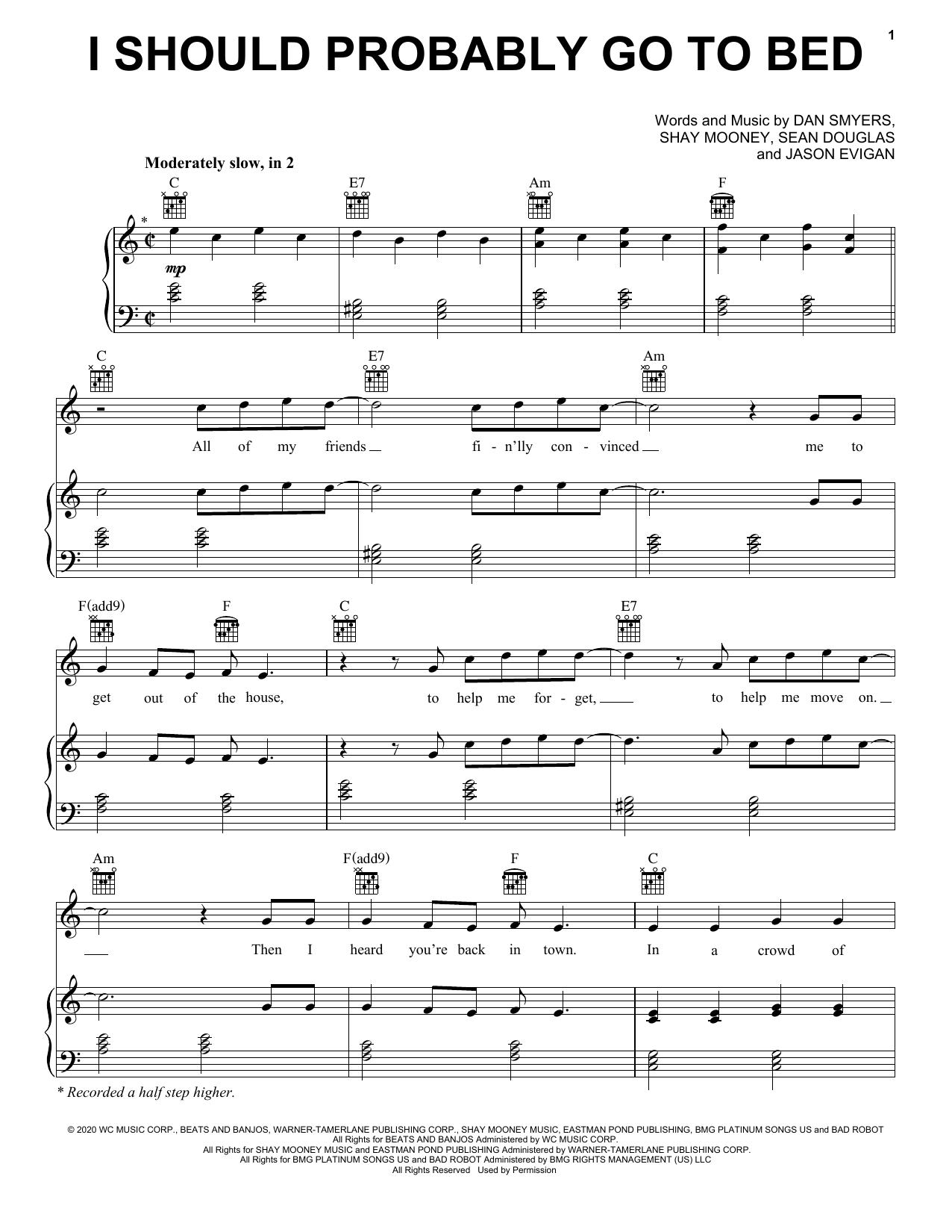 Dan + Shay I Should Probably Go To Bed sheet music notes and chords. Download Printable PDF.