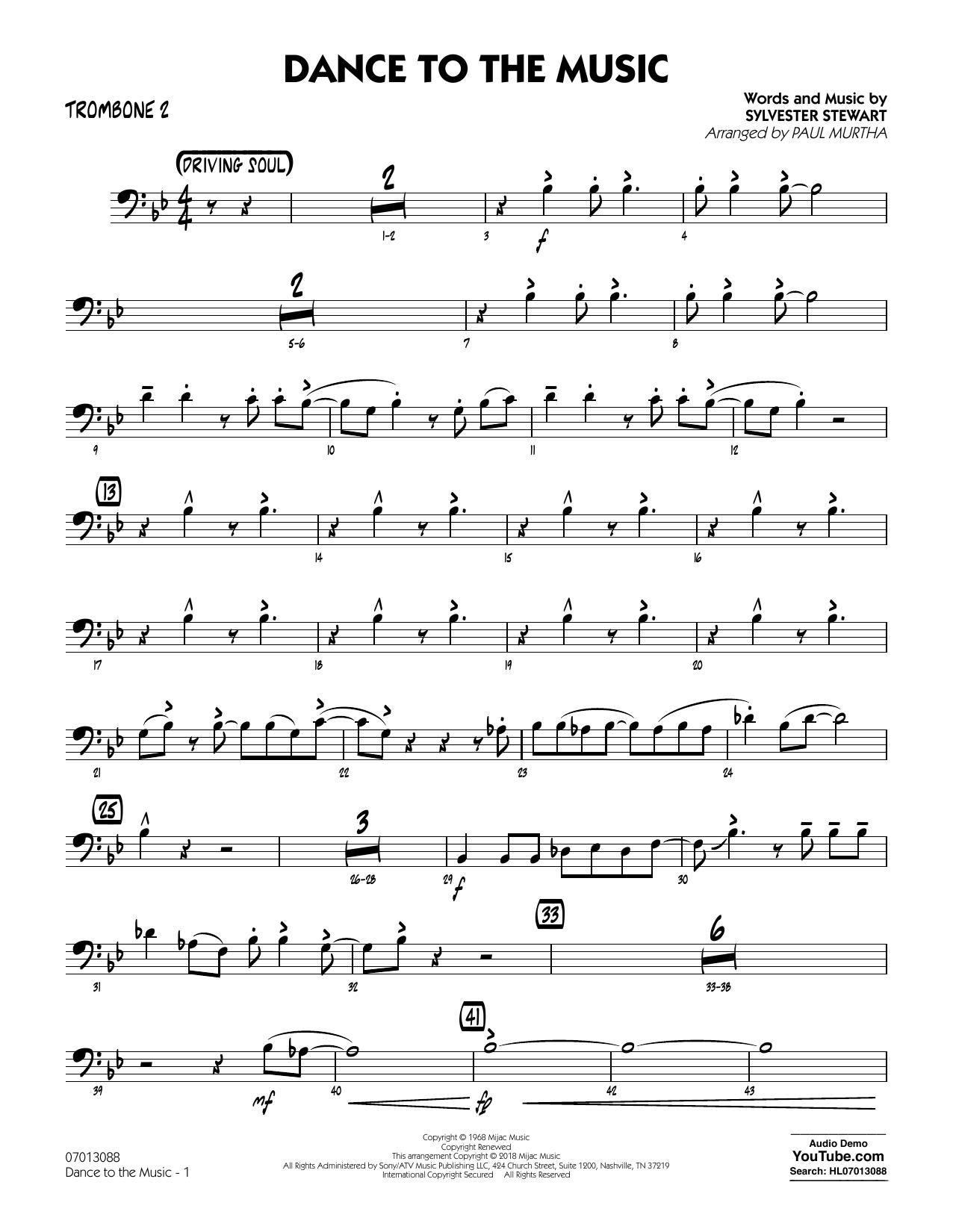 Paul Murtha Dance to the Music - Trombone 3 sheet music notes printable PDF score