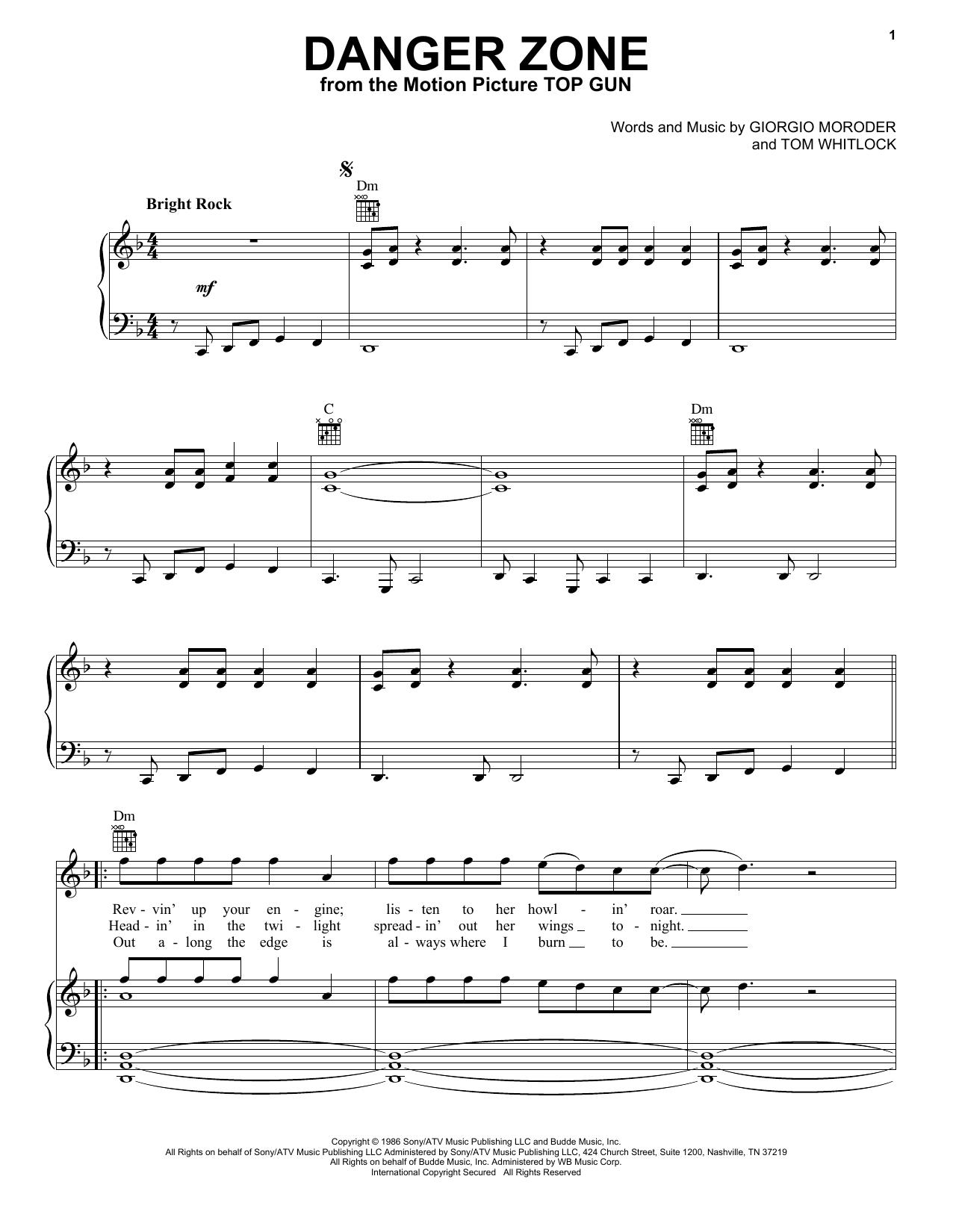 Kenny Loggins Danger Zone sheet music notes printable PDF score