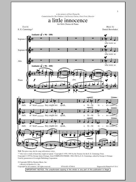 Daniel Brewbaker A Little Innocence sheet music notes and chords. Download Printable PDF.