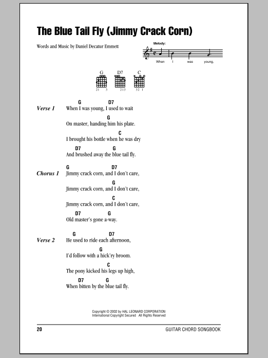 Daniel Decatur Emmett The Blue Tail Fly (Jimmy Crack Corn) sheet music notes and chords. Download Printable PDF.