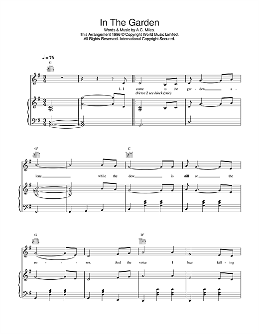 Daniel O'Donnell In The Garden sheet music notes printable PDF score