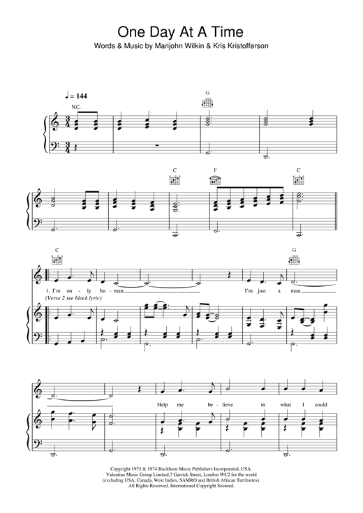 Daniel O'Donnell One Day At A Time sheet music notes printable PDF score