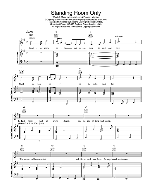 Daniel O'Donnell Standing Room Only sheet music notes printable PDF score
