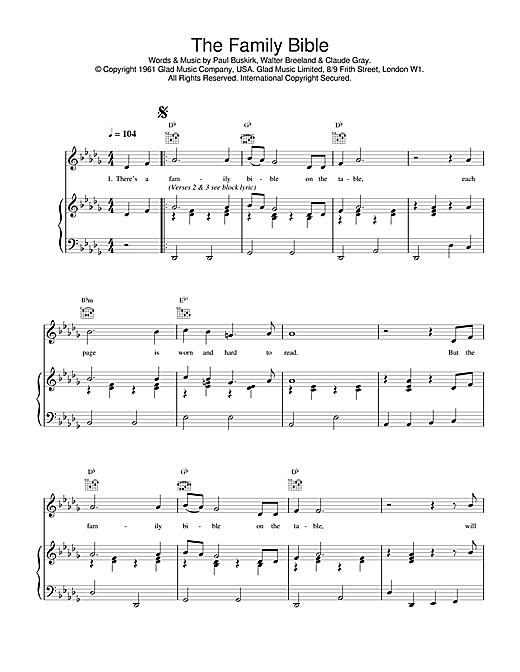 Daniel O'Donnell The Family Bible sheet music notes printable PDF score