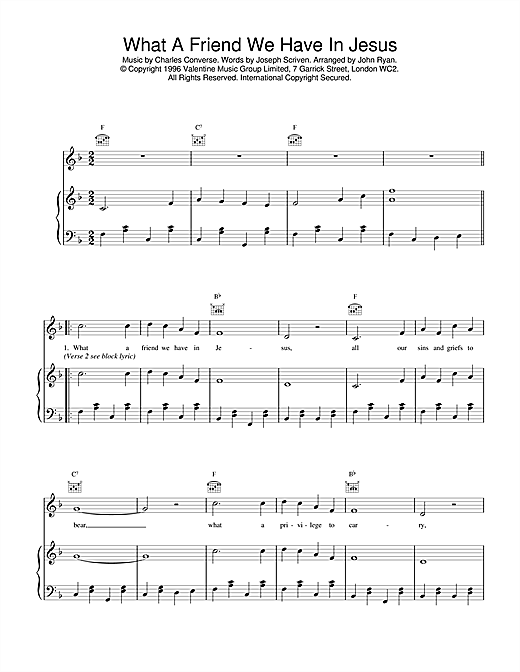 Daniel O'Donnell What A Friend We Have In Jesus sheet music notes printable PDF score
