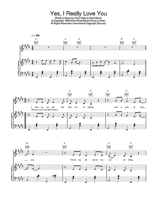 Daniel O'Donnell Yes, I Really Love You sheet music notes printable PDF score