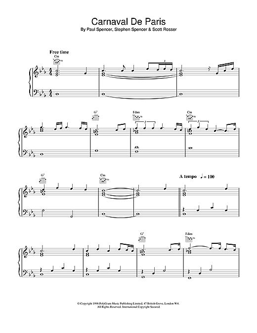 Dario G Carnaval de Paris (World Cup '98) sheet music notes printable PDF score