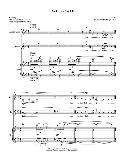 Tarik O'Regan Darkness Visible (for counter-tenor, tenor & harp) sheet music notes printable PDF score