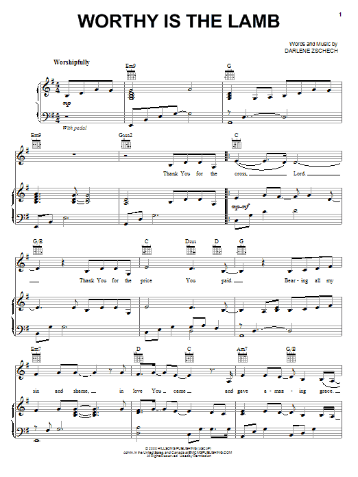 Darlene Zschech Worthy Is The Lamb sheet music notes and chords. Download Printable PDF.