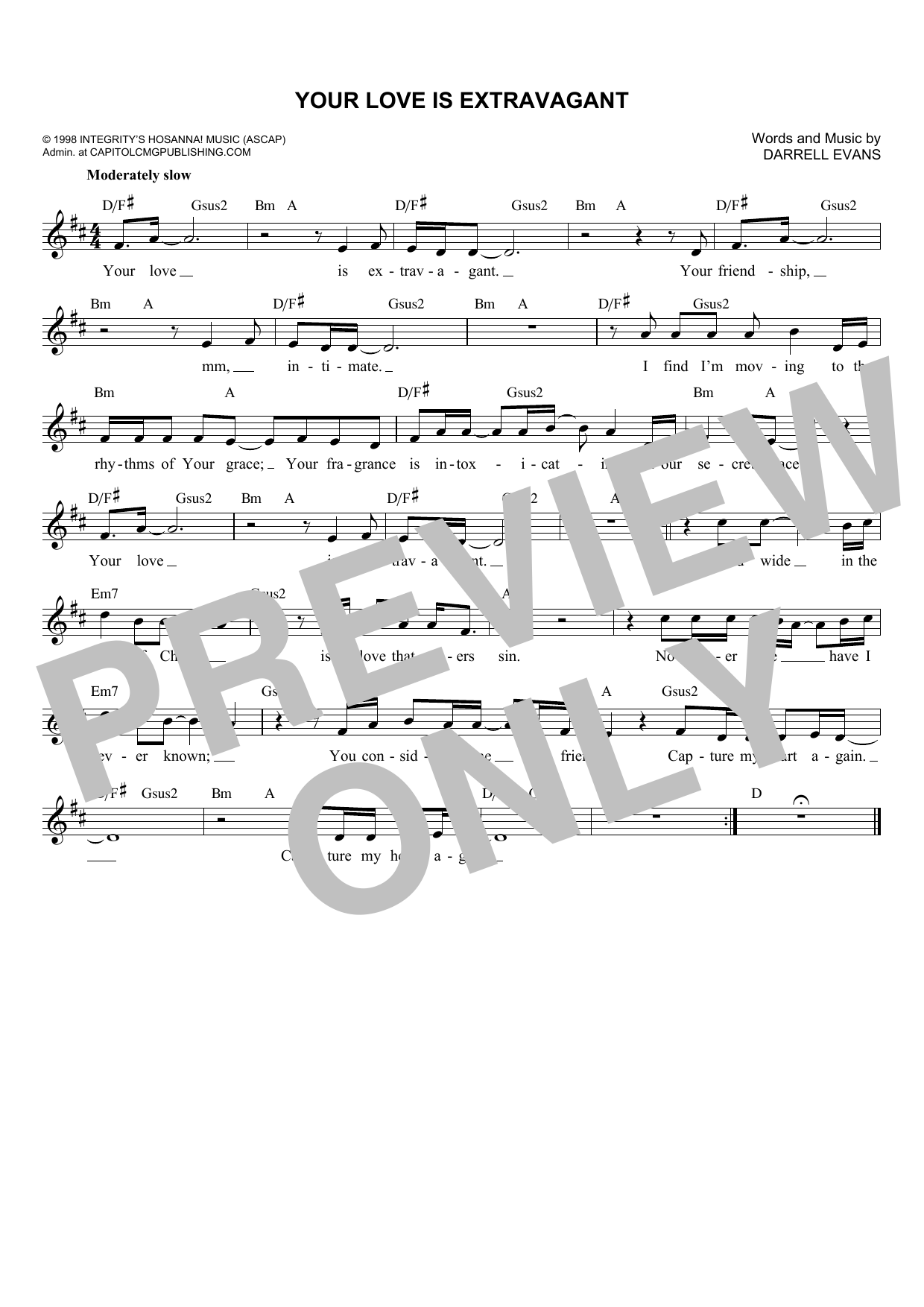 Darrell Evans Your Love Is Extravagant sheet music notes and chords. Download Printable PDF.
