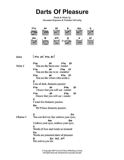 Franz Ferdinand Darts Of Pleasure sheet music notes printable PDF score