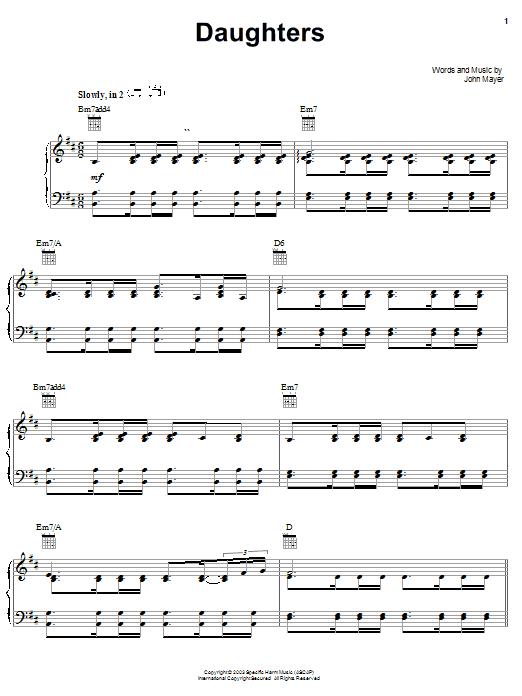 John Mayer Daughters sheet music notes printable PDF score