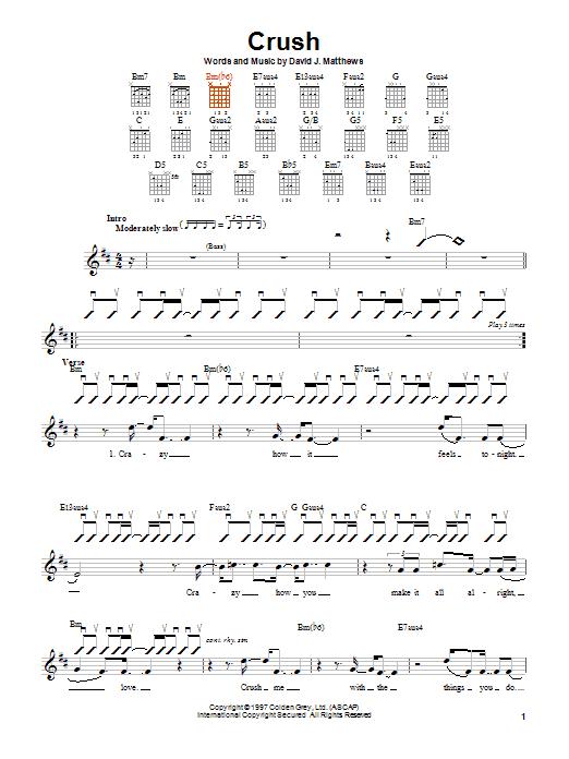 Dave Matthews Band Crush sheet music notes and chords. Download Printable PDF.