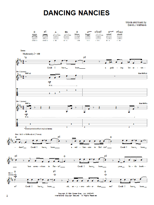 Dave Matthews Band Dancing Nancies sheet music notes and chords. Download Printable PDF.