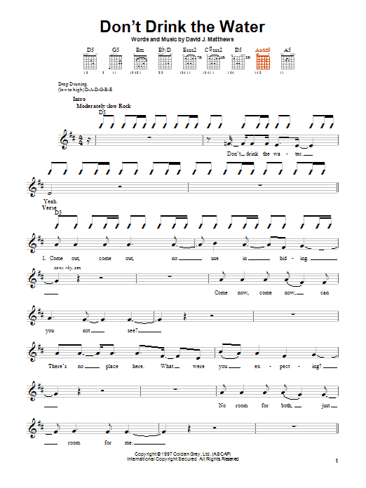 Dave Matthews Band Don't Drink The Water sheet music notes and chords. Download Printable PDF.