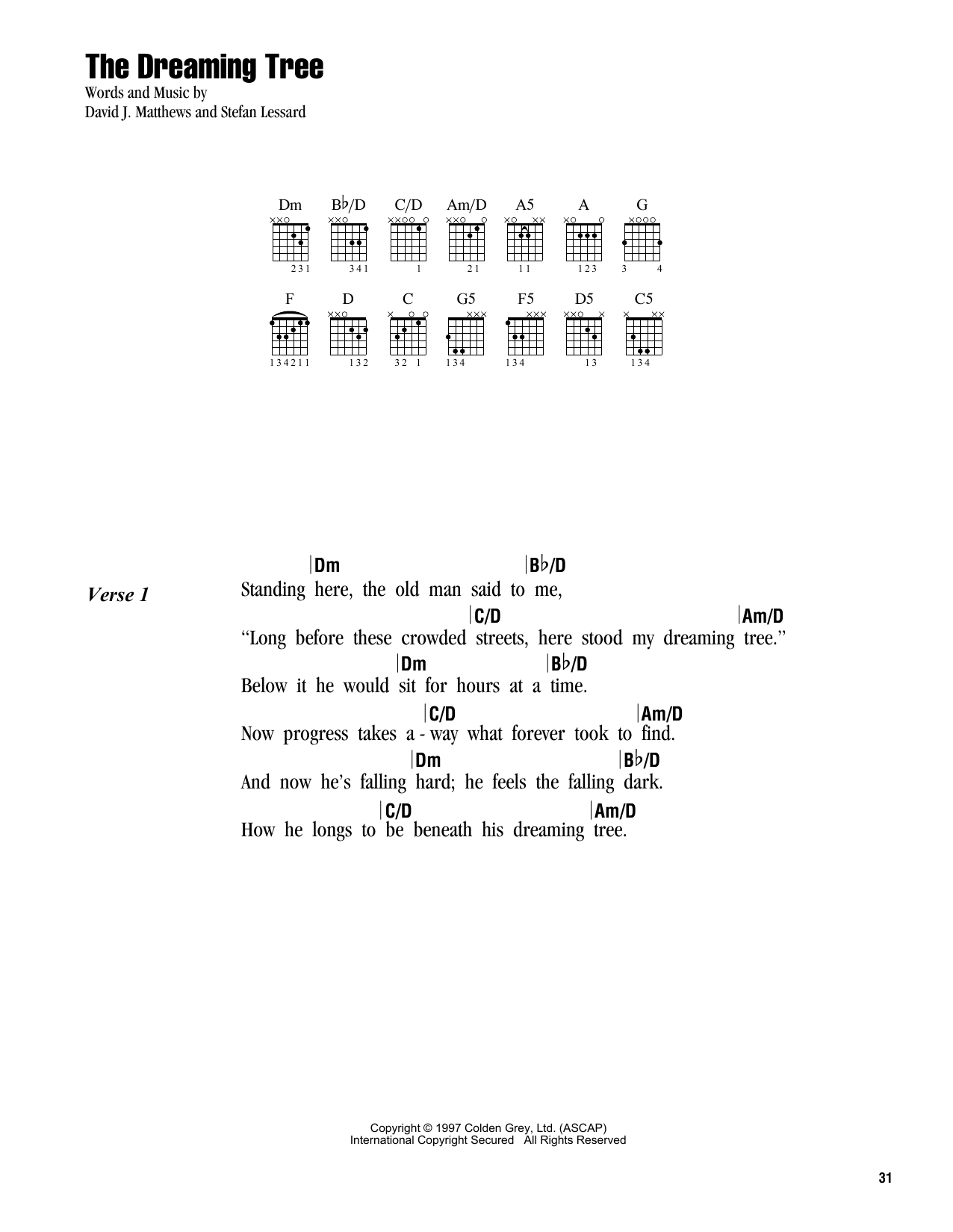 Dave Matthews Band The Dreaming Tree sheet music notes and chords. Download Printable PDF.