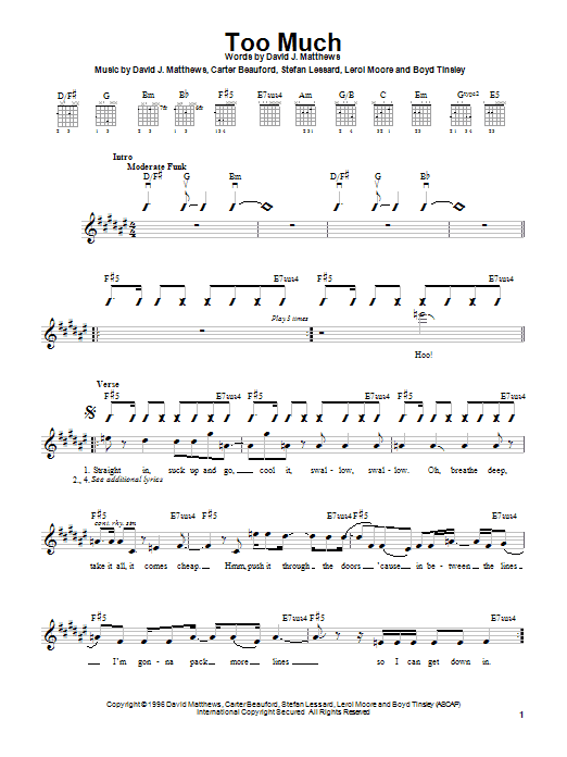 Dave Matthews Band Too Much sheet music notes and chords. Download Printable PDF.