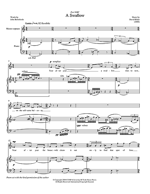 David Blake A Swallow (for mezzo-soprano & piano) sheet music notes printable PDF score