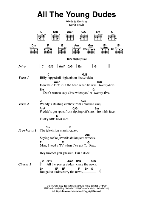 David Bowie All The Young Dudes sheet music notes and chords - download printable PDF.