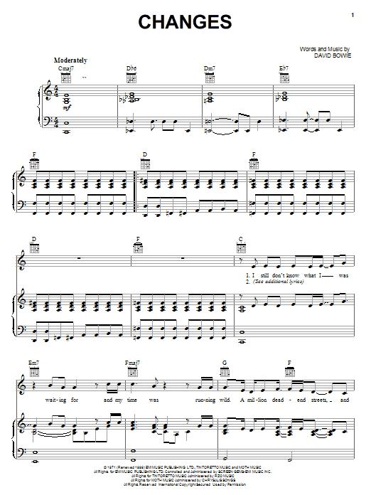 David Bowie Changes sheet music notes printable PDF score