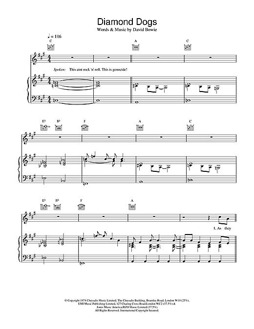 David Bowie Diamond Dogs sheet music notes printable PDF score