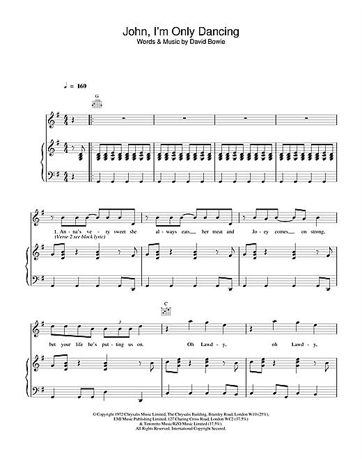 David Bowie John, I'm Only Dancing sheet music notes printable PDF score