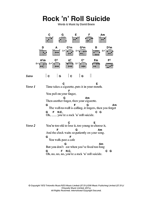 David Bowie Rock 'n' Roll Suicide sheet music notes printable PDF score