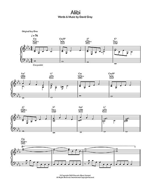 David Gray Alibi sheet music notes printable PDF score