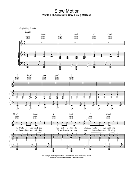 David Gray Slow Motion sheet music notes printable PDF score