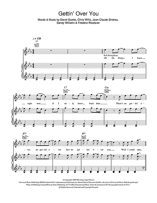 David Guetta & Chris Willis Gettin' Over You (feat. Fergie & LMFAO) sheet music notes and chords. Download Printable PDF.