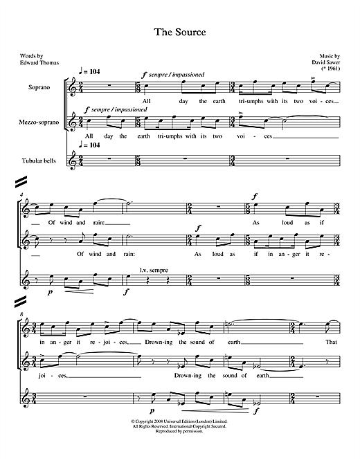 David Sawer The Source (for soprano, mezzo-soprano & tubular bells) sheet music notes printable PDF score