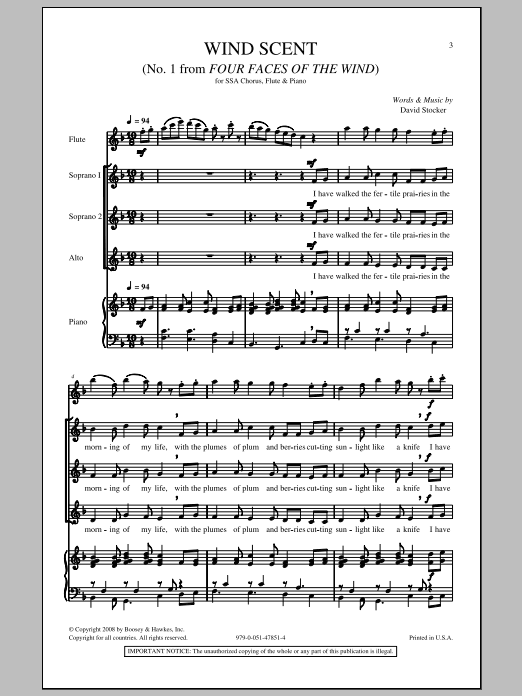 David Stocker Wind Scent sheet music notes and chords. Download Printable PDF.